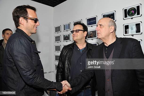 Actor Will Arnett creator Mitch Hurwitz and actor Jeffrey Tambor attend The Samsung Galaxy Experience hosts a QA with Mitch Hurwitz Will Arnett and...