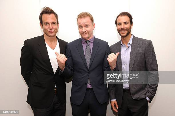 Actor Will Arnett filmmaker Morgan Spurlock and executive producer Benjamin Silverman attend 'MANSOME' at Apple's 'Meet the Filmmakers' Session at...