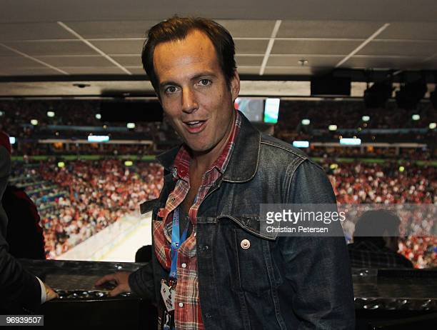 Actor Will Arnett poses for a photo in the NHL hockey suite while watching the United States take on Canada at Canada Hockey Place on February 21...