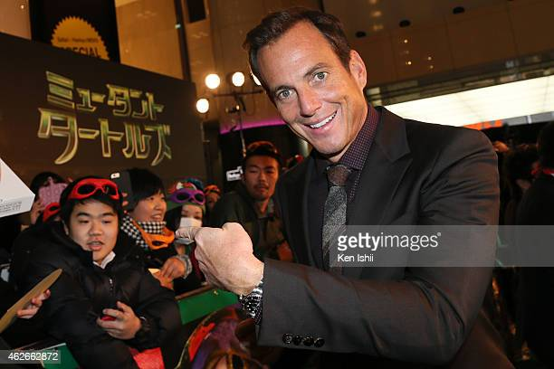 Actor Will Arnett signs autograph for fans as he attends the Tokyo Premiere of 'Teenage Mutant Ninja Turtles' at Yurakucho Marion on February 2 2015...