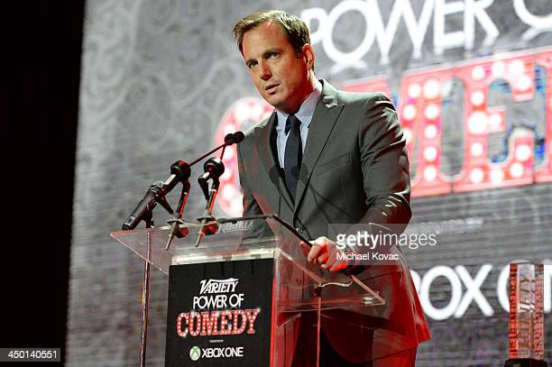 Actor Will Arnett speaks onstage during Variety's 4th Annual Power of Comedy presented by Xbox One benefiting the Noreen Fraser Foundation at Avalon...