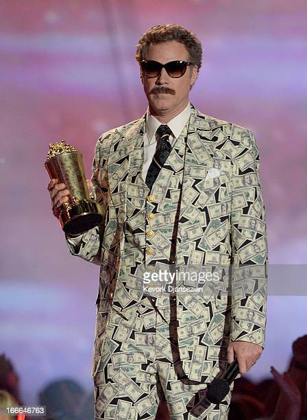 Actor Will Ferrell accepts the Comedic Genius Award onstage during the 2013 MTV Movie Awards at Sony Pictures Studios on April 14 2013 in Culver City...