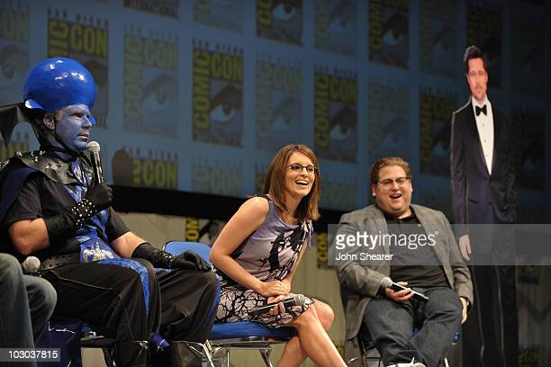 """Actor Will Ferrell, actress Tina Fey and actor Jonah Hill speak at the """"Megamind"""" panel during Comic-Con 2010 at San Diego Convention Center on July..."""