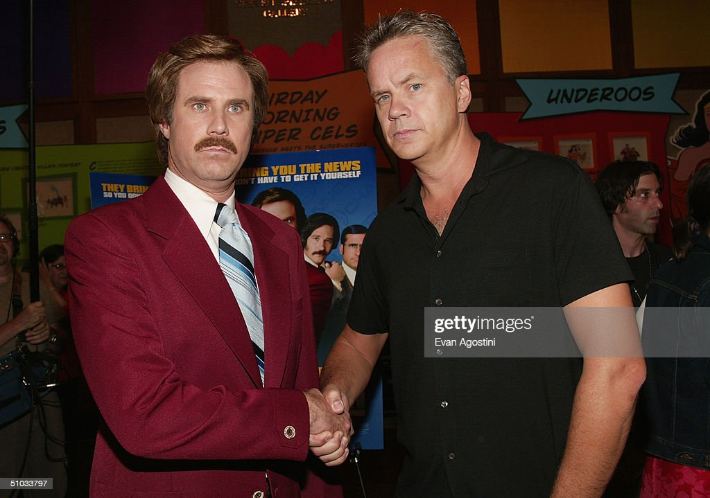 Actor Will Ferrell (L) aka Ron Burgundy poses with actor Tim Robbins after a special screening of the film 'Anchorman: The Legend of Ron Burgundy' at the Museum of Television and Radio July 7, 2004 in New York City.