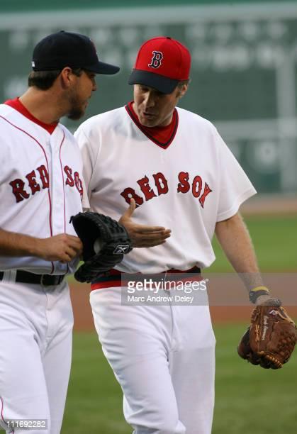 Actor Will Ferrell and Boston Red Sox pitcher Josh Beckett