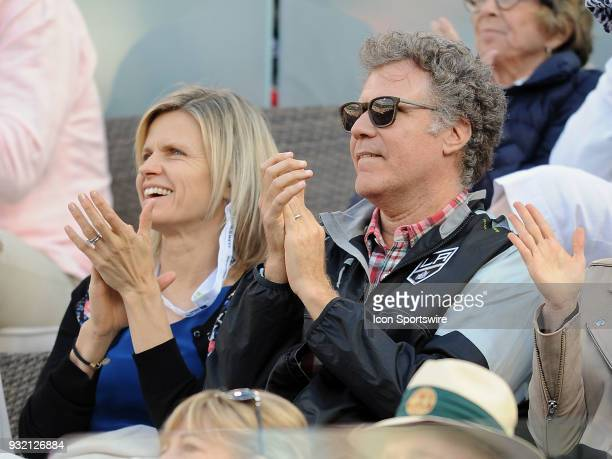 Actor Will Ferrell and his wife actress Viveca Paulin applaud during a tennis match between Jeremy Chardy and Roger Federer during the BNP Paribas...