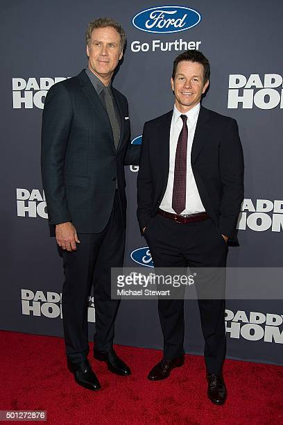 Actor Will Ferrell and Mark Wahlberg attend the Daddy's Home New York Premiere at AMC Lincoln Square Theater on December 13 2015 in New York City