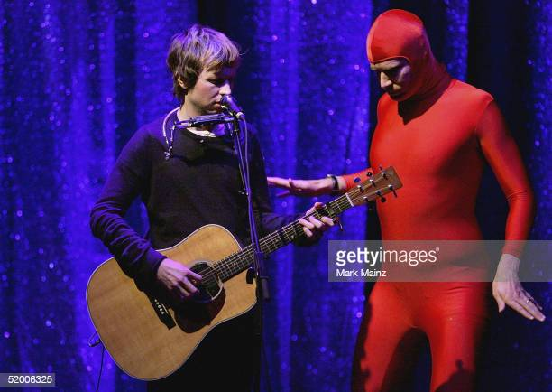 Actor Will Ferrell and musician Beck perform during the Music For Relief Concert at the Wiltern Theatre on January 17 2005 in Los Angeles California