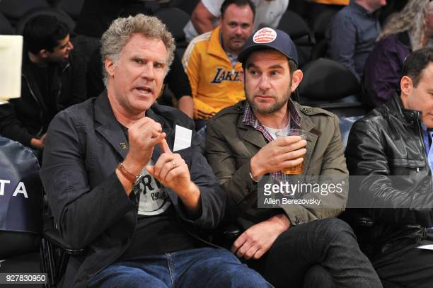 Actor Will Ferrell and race car driver Shane van Gisbergen attend a basketball game between the Los Angeles Lakers and Portland Trail Blazers at...