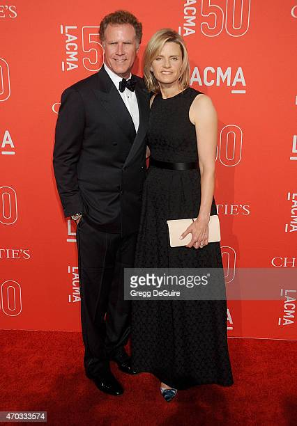 Actor Will Ferrell and Viveca PaulinFerrell arrive at LACMA's 50th Anniversary Gala at LACMA on April 18 2015 in Los Angeles California