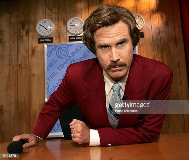 Actor Will Ferrell as Ron Burgundy from his new film Anchorman appears on stage during MTV TRL Times Square Film Festival Week at the MTV Times...