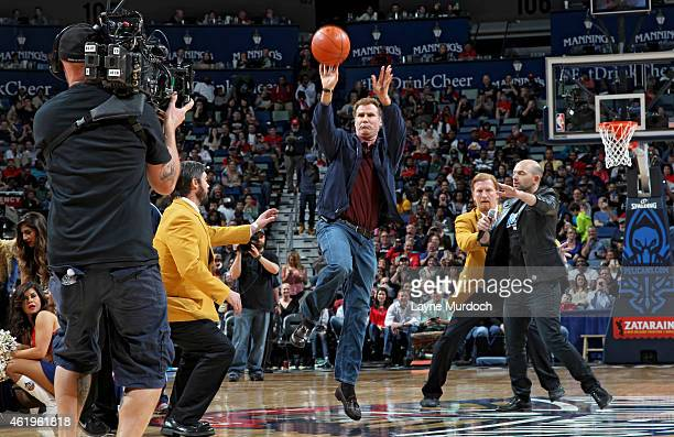 Actor Will Ferrell attends the Los Angeles Lakers game against the New Orleans Pelicans on January 21 2015 at the Smoothie King Center in New Orleans...
