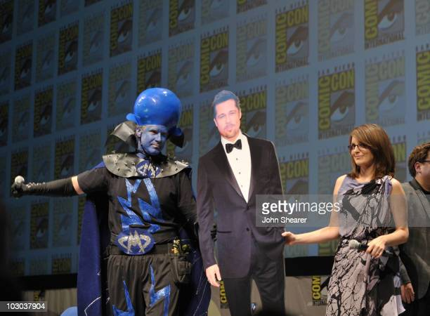 """Actor Will Ferrell, cardboard cut-out of Brad Pitt and actress Tina Fey speak at the """"Megamind"""" panel during Comic-Con 2010 at San Diego Convention..."""