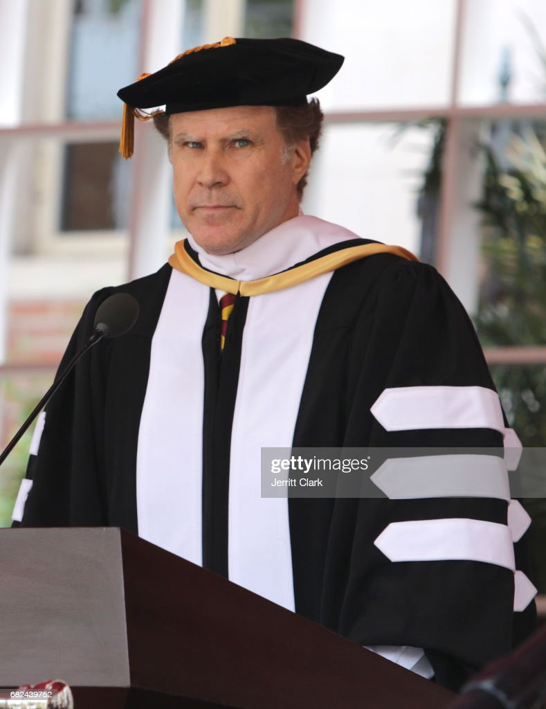 Actor Will Ferrell delivers the commencement speech during the University Of Southern California 134th Commencement Ceremonies at The Shrine Auditorium on May 12, 2017 in Los Angeles, California.