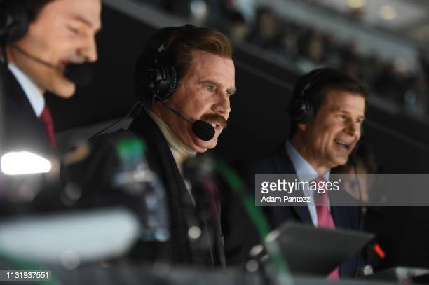 Actor Will Ferrell in character as Ron Burgundy calls the game with Fox Sports West Broadcasters Jim Fox and Alex Faust in the broadcast booth during...