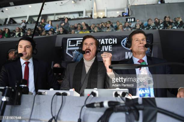 Actor Will Ferrell in character as Ron Burgundy cheers 'Go Kings go' while calling the game with Fox Sports West Broadcasters Jim Fox and Alex Faust...