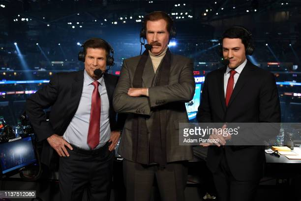 Actor Will Ferrell in character as Ron Burgundy prepares to call the game from the broadcast booth with Fox Sports West broadcasters Jim Fox left and...