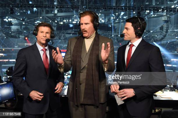 Actor Will Ferrell in character as Ron Burgundy talks with Fox Sports West Broadcasters Jim Fox and Alex Faust in the broadcast booth during the...