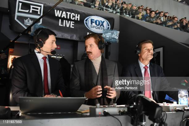 Actor Will Ferrell in character as Ron Burgundy talks with Fox Sports West Broadcasters Alex Faust and Jim Fox in the broadcast booth during the...