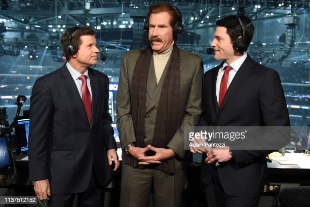 Actor Will Ferrell in character as Ron Burgundy talks with Fox Sports West broadcasters Jim Fox left and Alex Faust right as they call the game from...