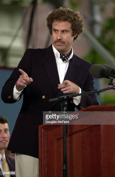 Actor Will Ferrell of Saturday Night Live and the recent movie 'Old School' gives graduating Harvard students a laugh during the Class Day ceremonies...