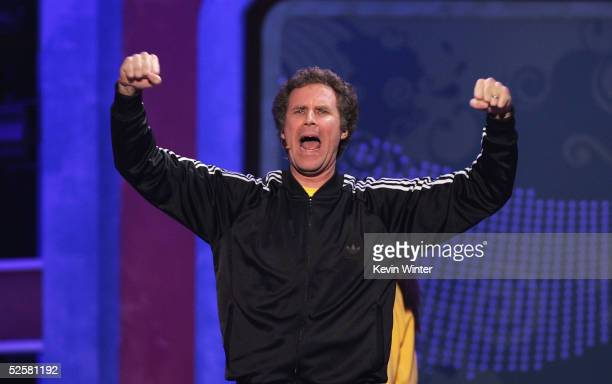 Actor Will Ferrell performs onstage with former soccer athlete Mia Hamm at the 18th Annual Nickelodeon Kids Choice Awards at the UCLA Pauley...