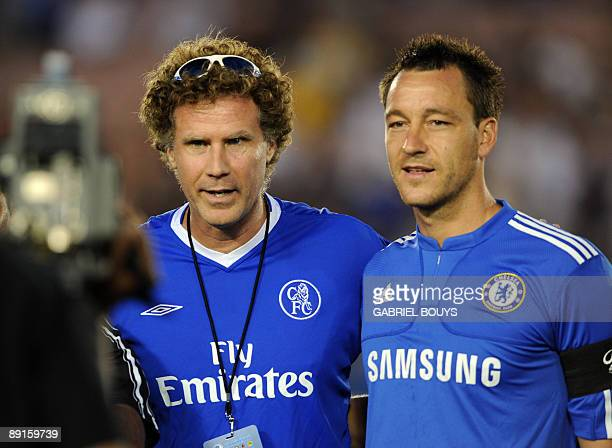 Actor Will Ferrell poses with Chelsea FC captain John Terry before the 2009 World Football Challenge game Chelsea FC vs Inter Milan, at the Rose Bowl...
