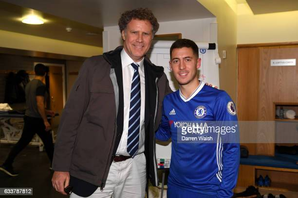 Actor Will Ferrell poses with Eden Hazard of Chelsea after the Premier League match between Chelsea and Arsenal at Stamford Bridge on February 4 2017...