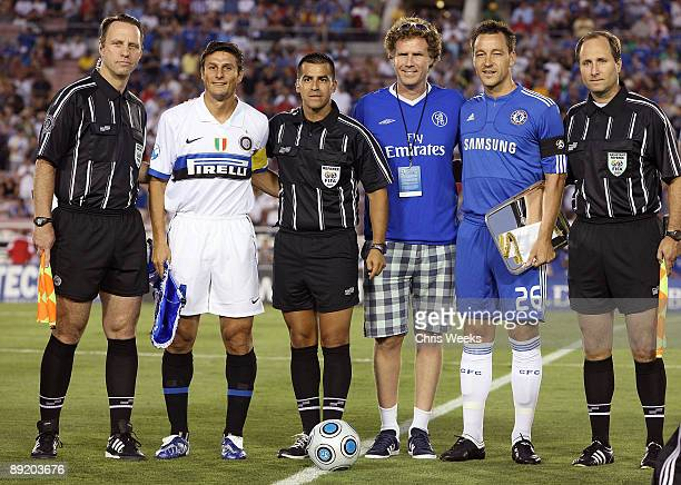 Actor Will Ferrell poses with John Terry and Javier Zanetti at the Chelsea FC and InterMilan soccer match benefitting LAFC Chelsea and Africa...