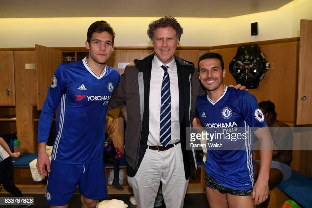 Actor Will Ferrell poses with Marcos Alonso and Pedro of Chelsea after the Premier League match between Chelsea and Arsenal at Stamford Bridge on...