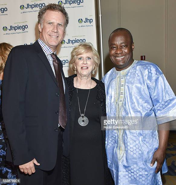 Actor Will Ferrell President CEO Dr Leslie Mancuso and Sr Vice President Dr Alain Damiba arrive at Jhpiego's 'Laughter Is The Best Medicine' Arrivals...