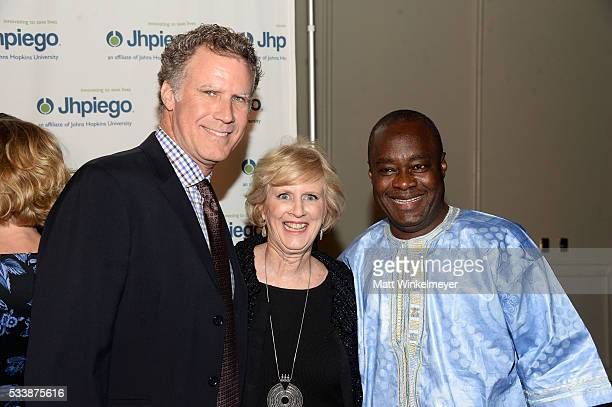 Actor Will Ferrell President/CEO of Jhpiego Dr Leslie Mancuso and Sr Vice President of Technical Leadership/Global Programs at Jhpiego Dr Alain...