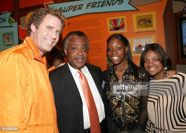 Actor Will Ferrell Reverend Al Sharpton and his daughters Ashley and Dominique arrive at a special screening of the film Anchorman The Legend of Ron...