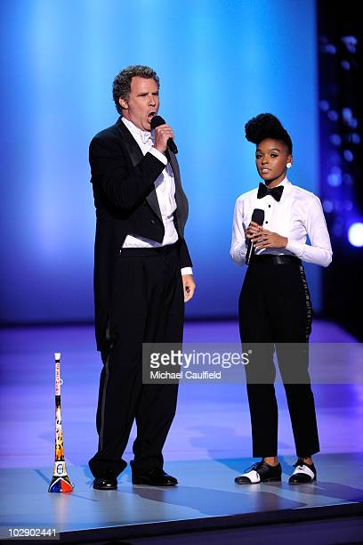 Actor Will Ferrell sings with Janelle Monae onstage during the 2010 ESPY Awards at Nokia Theatre LA Live on July 14 2010 in Los Angeles California