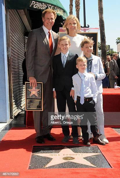 Actor Will Ferrell Viveca Paulin Magnus Ferrell Mattias Ferrell and Axel Ferrell at the Will Ferrell Star Ceremony held on The Hollywood Walk Of Fame...