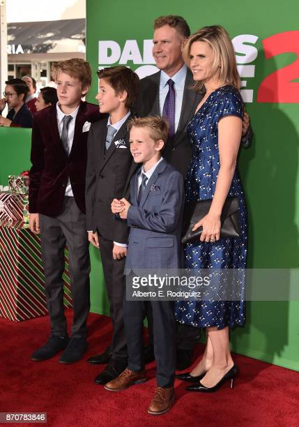 Actor Will Ferrell Viveca Paulin Magnus Paulin Ferrell Mattias Paulin Ferrell and Axel Paulin Ferrell attend the premiere of Paramount Pictures'...
