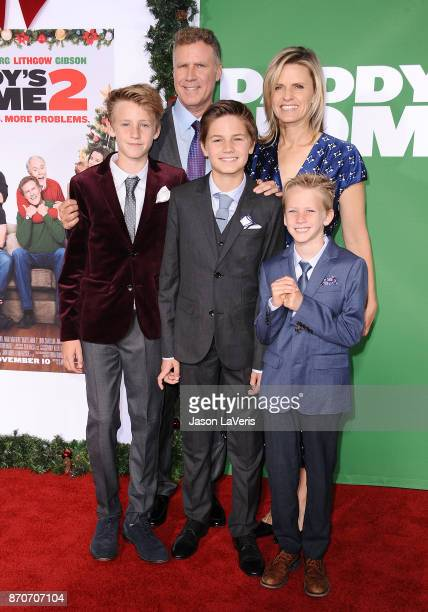 Actor Will Ferrell wife Viveca Paulin and children Magnus Paulin Ferrell Mattias Paulin Ferrell and Axel Paulin Ferrell attend the premiere of...