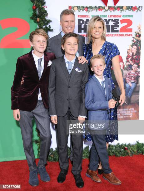 Actor Will Ferrell wife Viveca Paulin and their sons Magnus Ferrell Mattias Ferrell and Axel Ferrell attend the premiere of Paramount Pictures'...