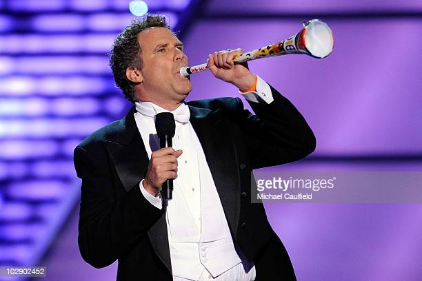 Actor Will Ferrell with a vuvuzela onstage during the 2010 ESPY Awards at Nokia Theatre LA Live on July 14 2010 in Los Angeles California