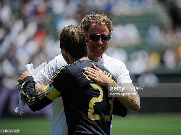 Actor Will Ferrelll greets David Beckham of Los Angeles during the Herbalife World Football Challenge 2011 against Manchester City at the Home Depot...