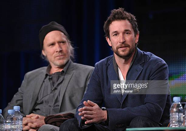 Actor Will Patton and actor Noah Wyle speak onstage during the 'Falling Skies' panel at the 2011 January Turner TCA at The Langham Hotel on January 6...