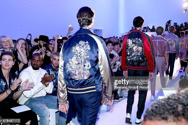 Actor Will Peltz Singers Kanye West Zayn Malik Musician from Japan Haruma Miura and Singer from China Boran Jing applause Models at the end of the...