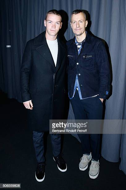 Actor Will Poulter and Stylist Lucas Ossendrijver attend the Lanvin Menswear Fall/Winter 2016-2017 show as part of Paris Fashion Week on January 24,...