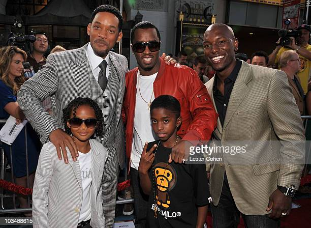 Actor Will Smith actor Jaden Smith Sean Diddy Combs and son and actor Tyrese Gibson arrive at the World Premiere of Columbia Pictures Hancock at...
