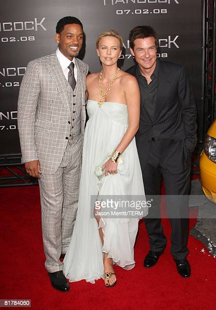 Actor Will Smith Actress Charlize Theron and actor Jason Bateman arrives to the Premiere of Sony Pictures' 'Hancock' at Grauman's Chinese Theatre on...