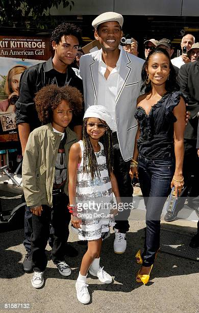 Actor Will Smith actress Jada PinkettSmith kids Willow Smith Jaden Smith and Trey Smith arrive at the Kit Kittredge An American Girl World Premiere...