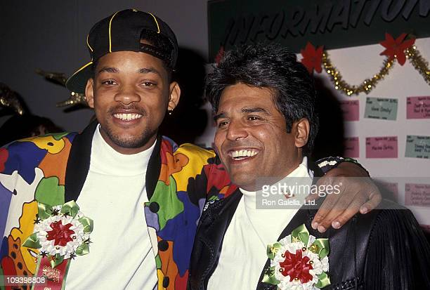 Actor Will Smith and actor Erik Estrada attend the 60th Annual Hollywood Christmas Parade on December 1 1991 at KTLA Studios in Hollywood California