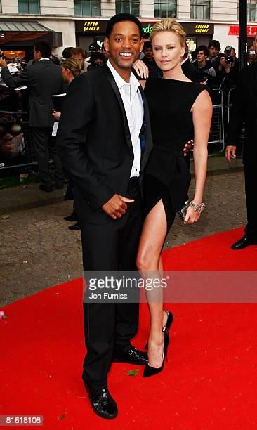 Actor Will Smith and actress Charlize Theron arrive at the Gala Premiere of Hancock at Vue West End Cinema Leicester Square on June 18 2008 in London...