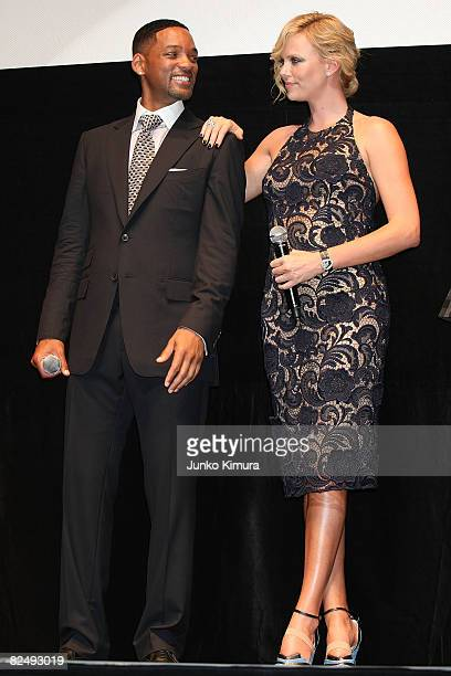 Actor Will Smith and actress Charlize Theron attend the 'Hancock' Japan Premiere at JCB Hall on August 21 2008 in Tokyo Japan The film will open on...