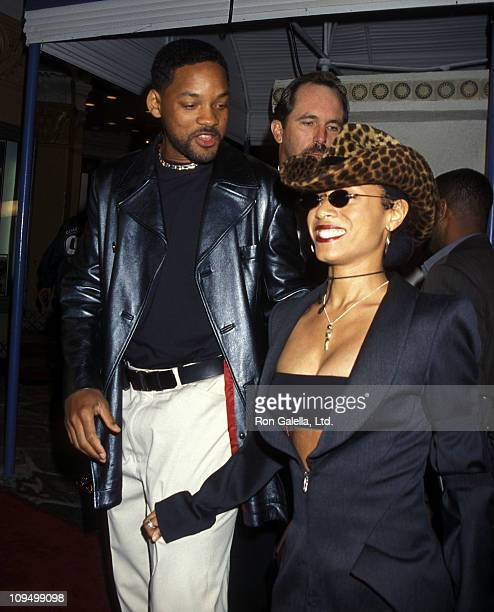 Actor Will Smith and actress Jada Pinkett Smith attend The Matrix Westwood Premiere on March 24 1999 at Mann Village Theatre in Westwood California